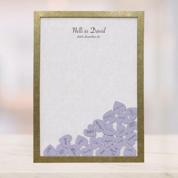 Szív bedobós képkeret - Lila-fehér
